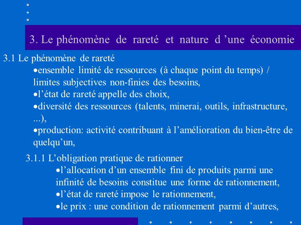 3. Le phénomène de rareté et nature d 'une économie