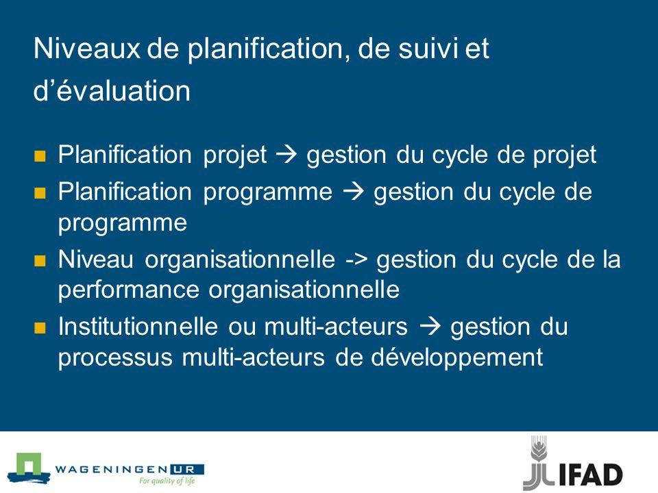 Niveaux de planification, de suivi et d'évaluation