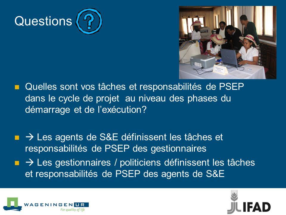 Questions Quelles sont vos tâches et responsabilités de PSEP dans le cycle de projet au niveau des phases du démarrage et de l'exécution