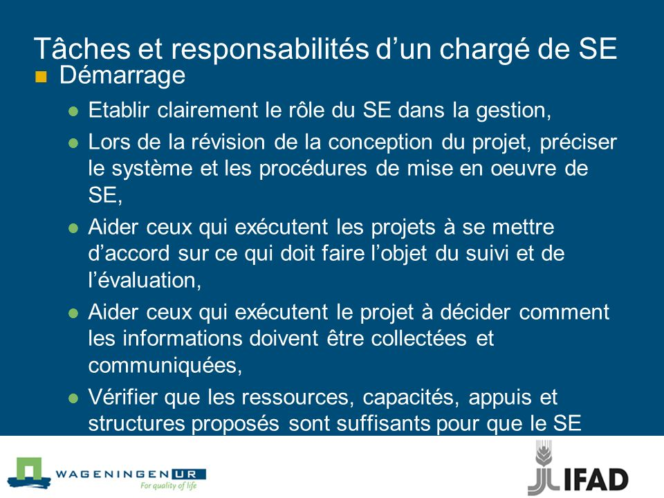 Tâches et responsabilités d'un chargé de SE