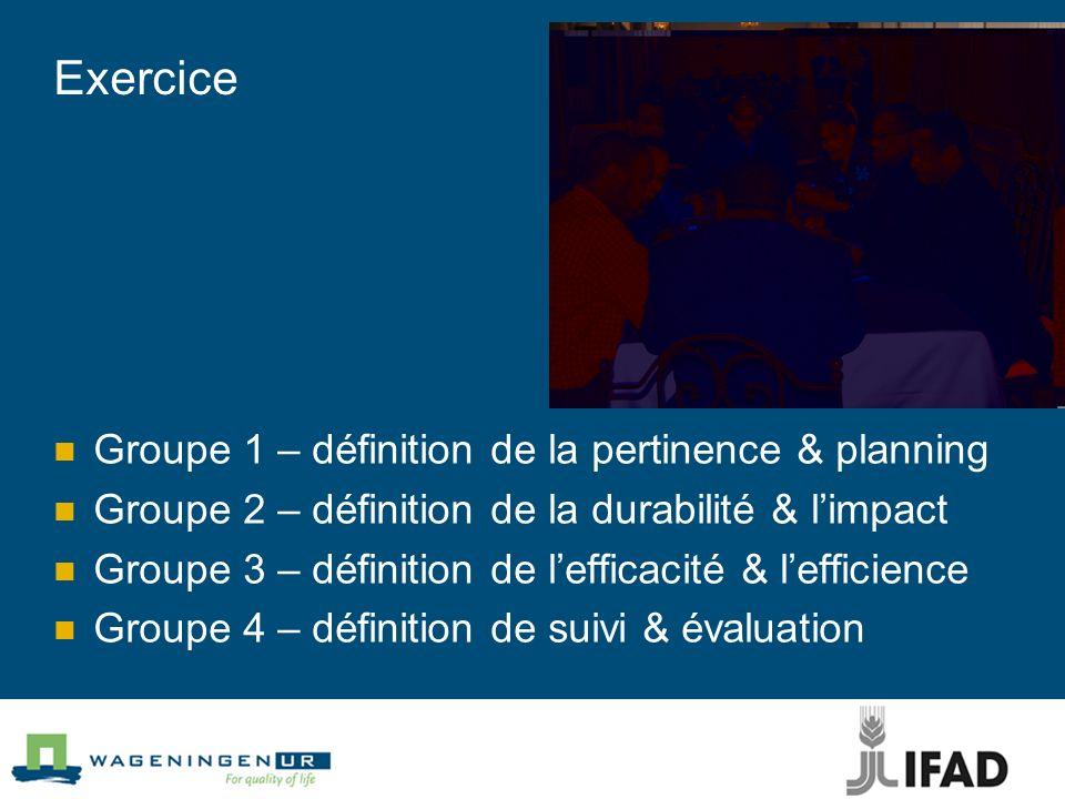 Exercice Groupe 1 – définition de la pertinence & planning