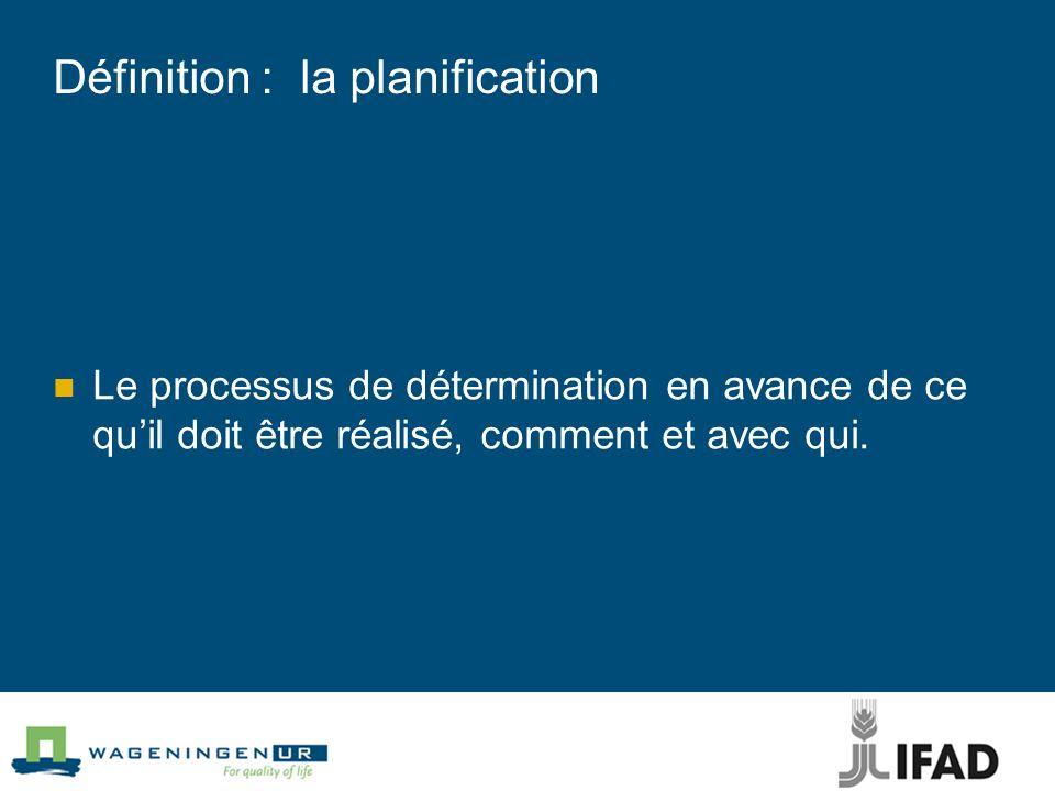 Définition : la planification