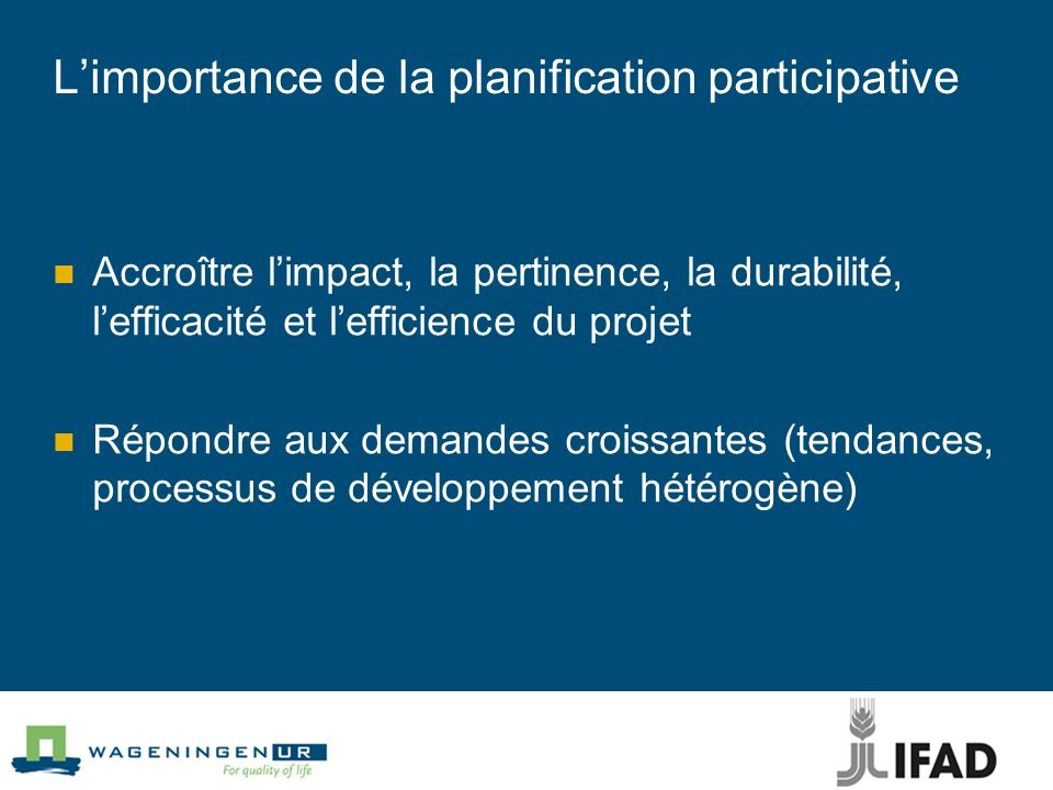 L'importance de la planification participative