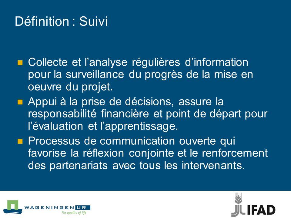 Définition : Suivi Collecte et l'analyse régulières d'information pour la surveillance du progrès de la mise en oeuvre du projet.