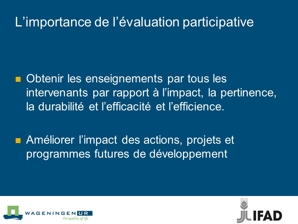 L'importance de l'évaluation participative
