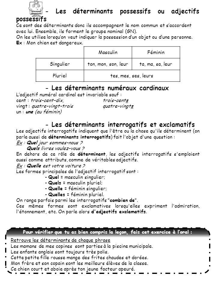 - Les déterminants possessifs ou adjectifs possessifs