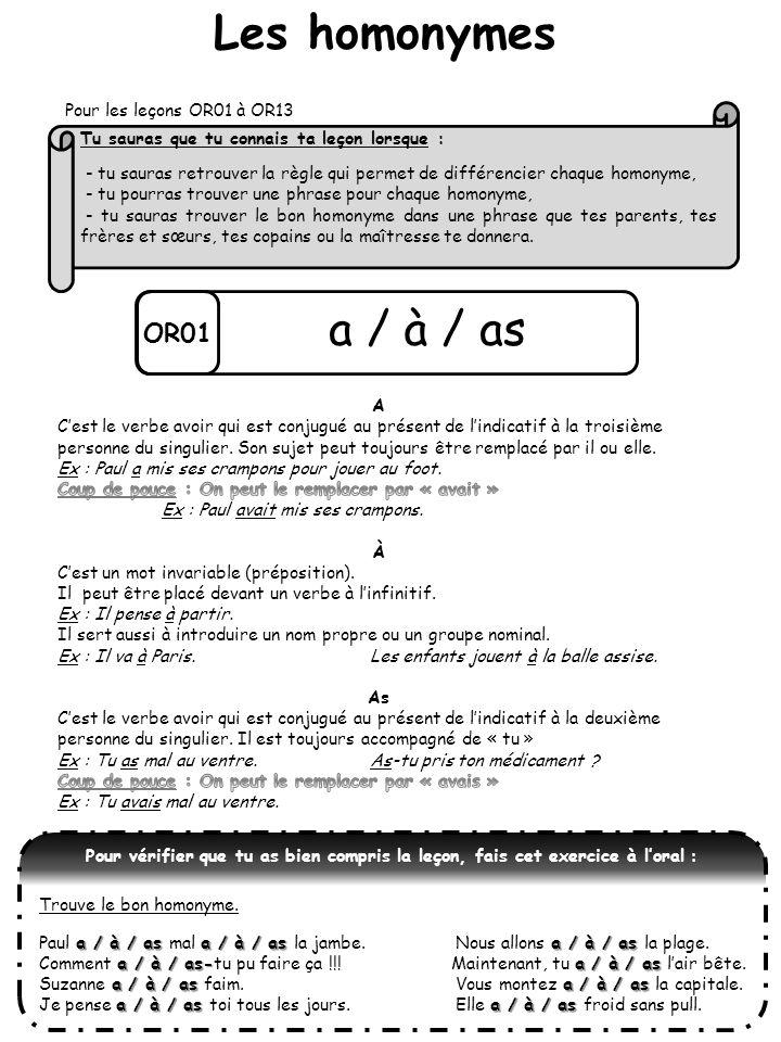 Les homonymes a / à / as OR01 Pour les leçons OR01 à OR13