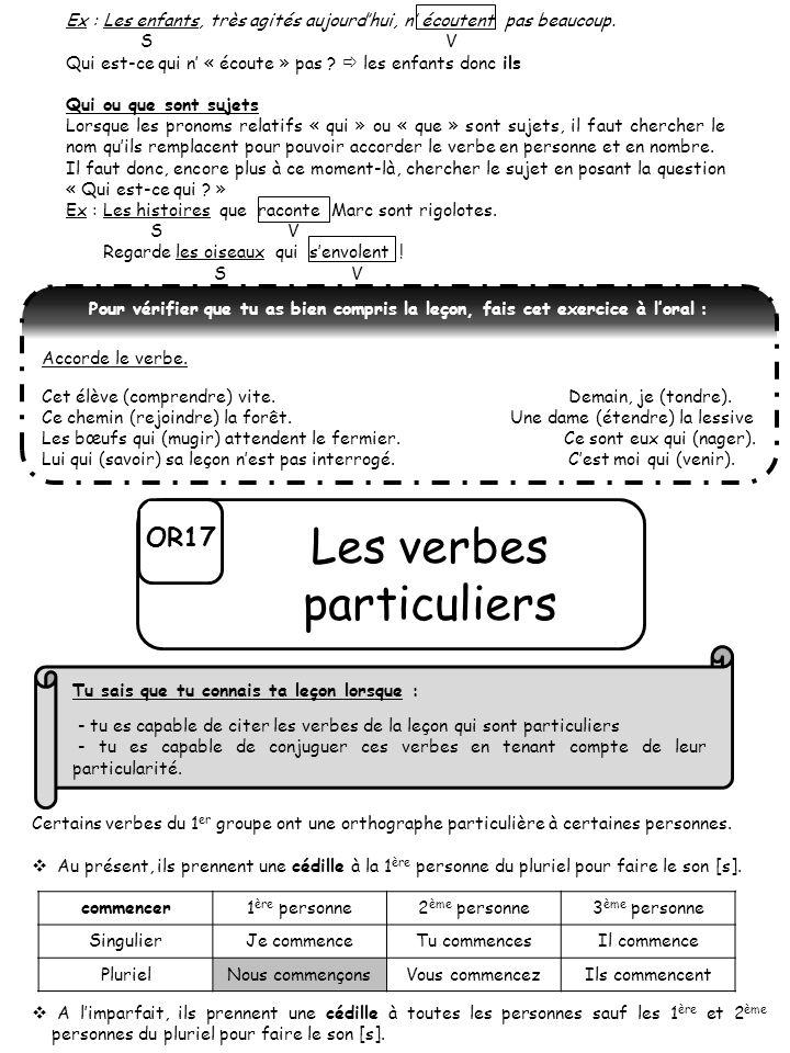 Les verbes particuliers