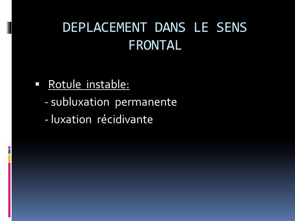 DEPLACEMENT DANS LE SENS FRONTAL