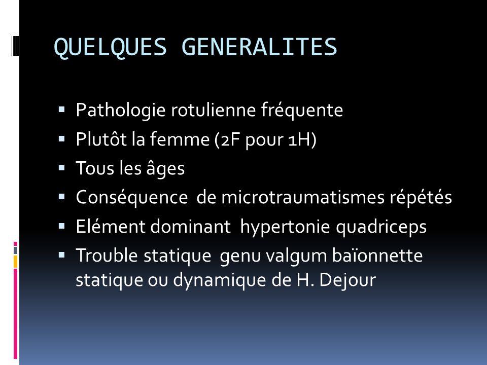 QUELQUES GENERALITES Pathologie rotulienne fréquente