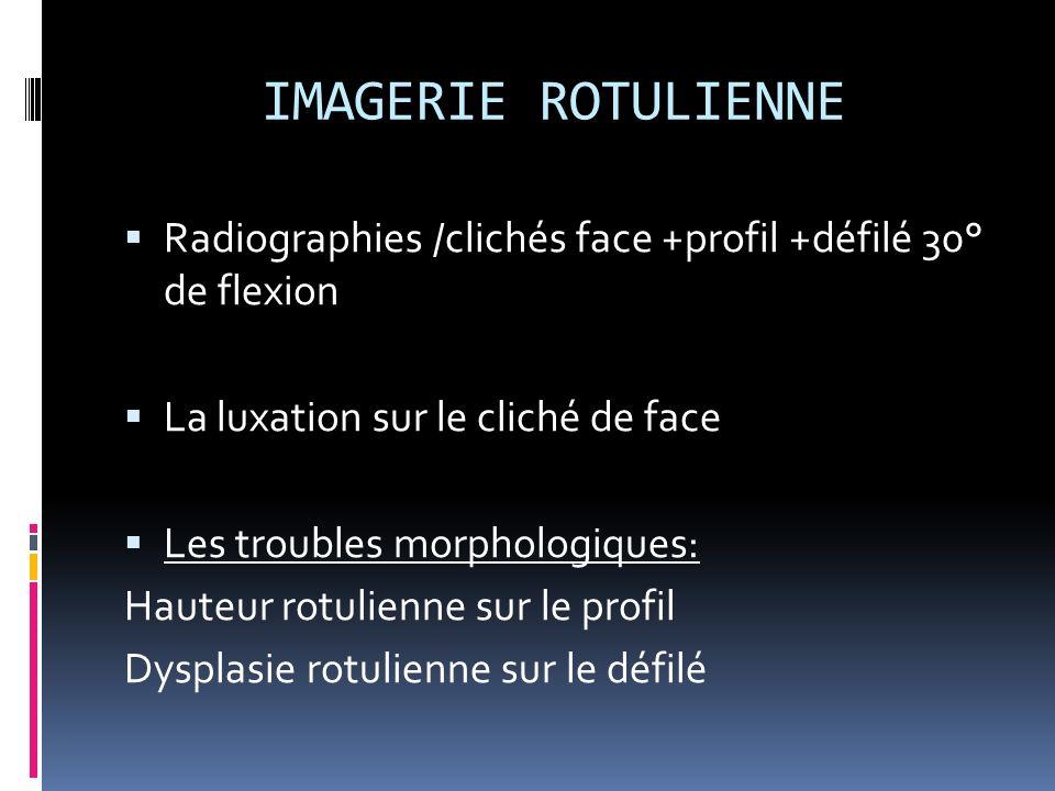 IMAGERIE ROTULIENNE Radiographies /clichés face +profil +défilé 30° de flexion. La luxation sur le cliché de face.