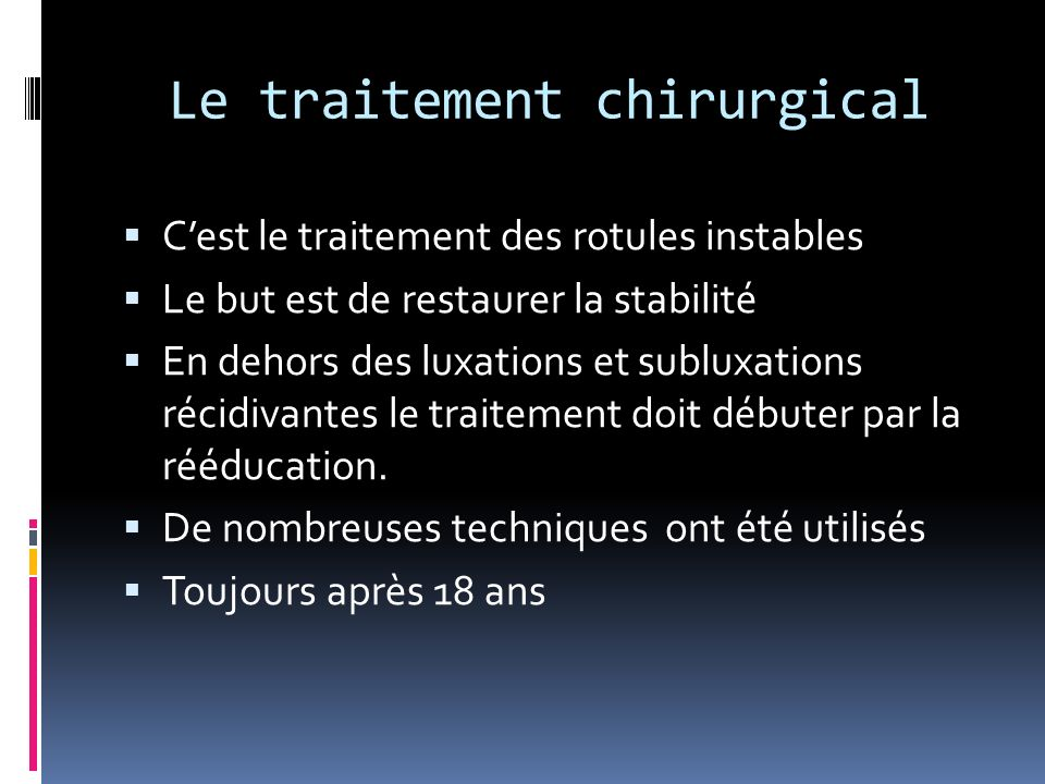 Le traitement chirurgical