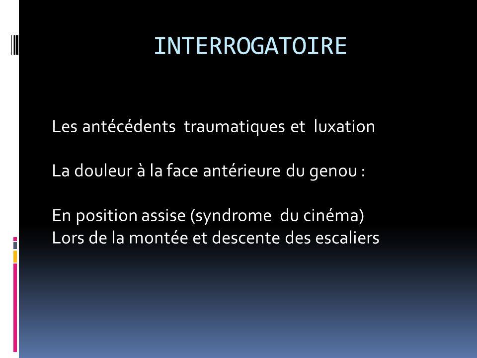 INTERROGATOIRE Les antécédents traumatiques et luxation