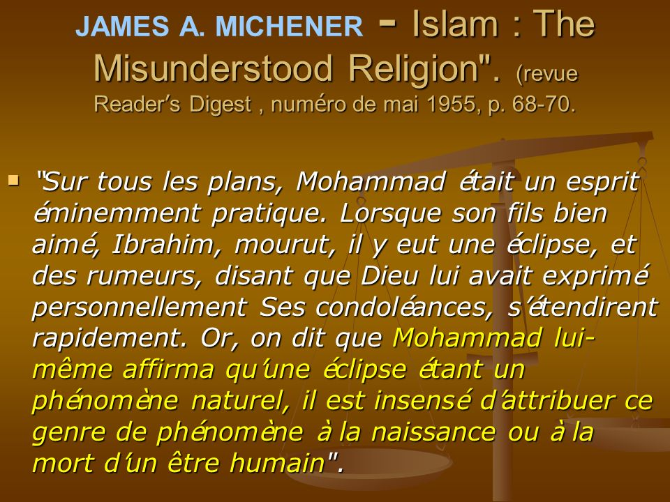JAMES A. MICHENER - Islam : The Misunderstood Religion
