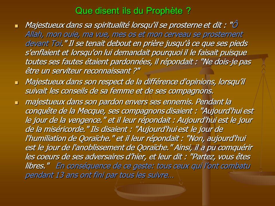 Que disent ils du Prophète