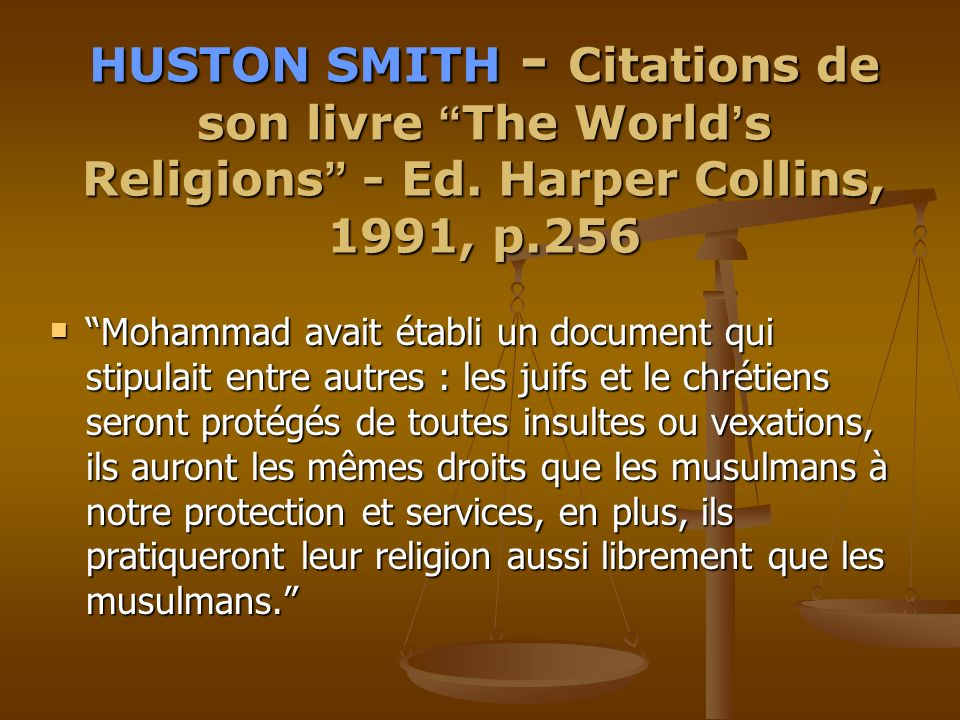 HUSTON SMITH - Citations de son livre The World's Religions - Ed