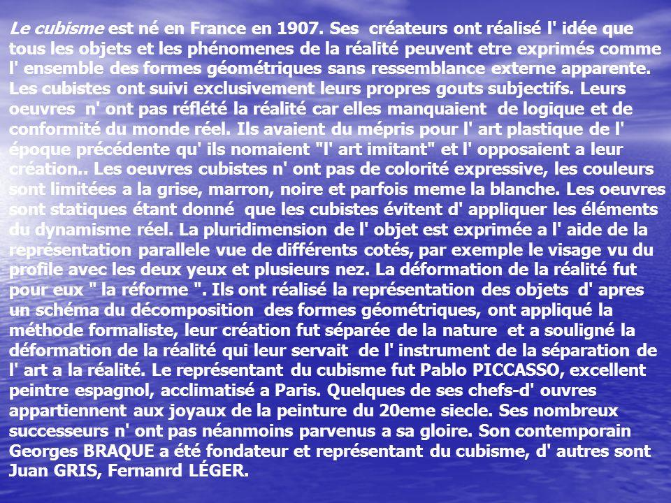 Le cubisme est né en France en 1907