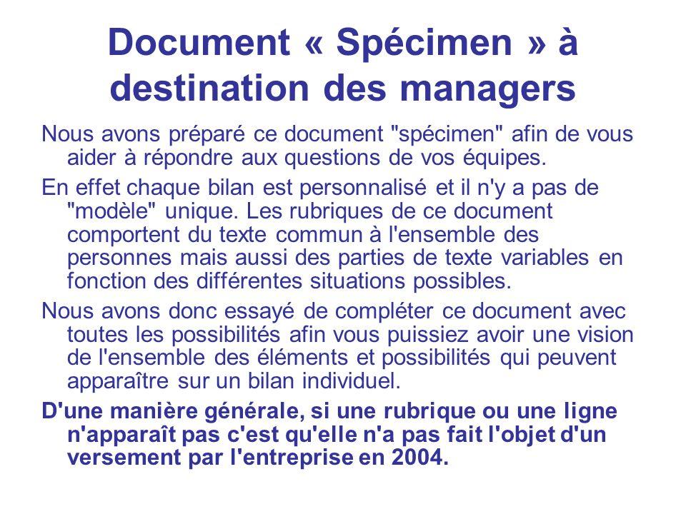 Document « Spécimen » à destination des managers