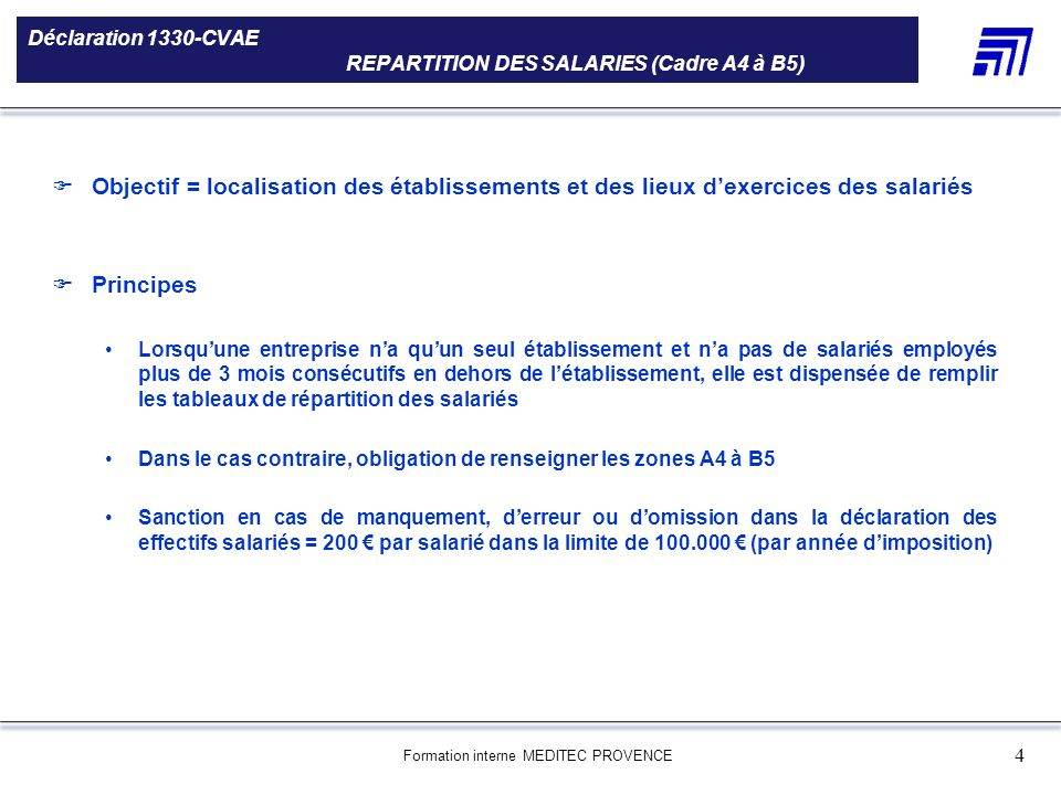 Déclaration 1330-CVAE REPARTITION DES SALARIES (Cadre A4 à B5)