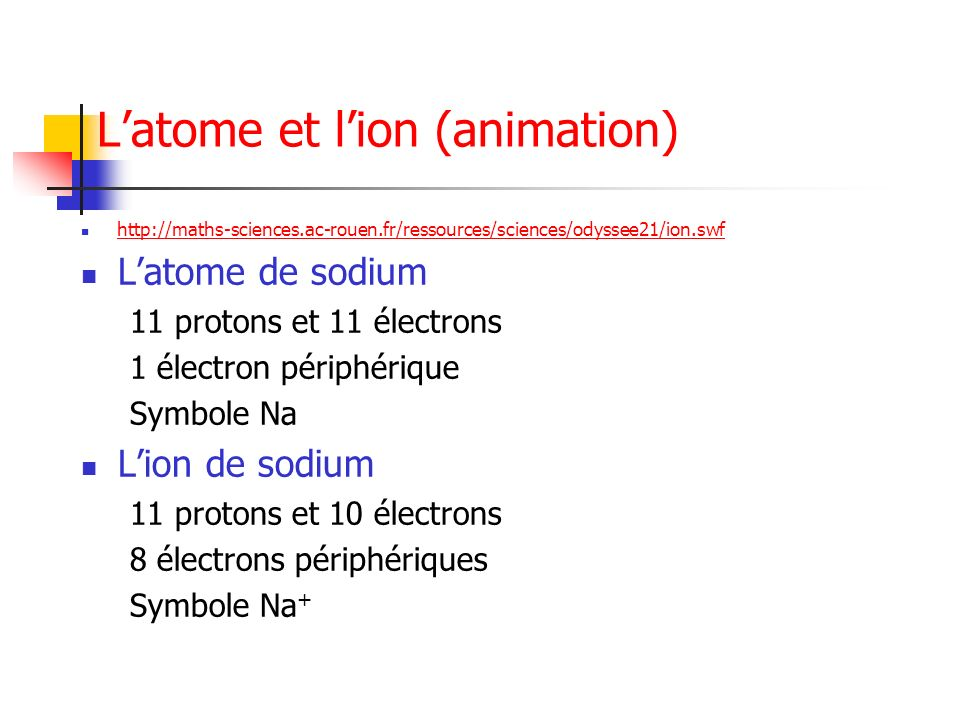 L'atome et l'ion (animation)