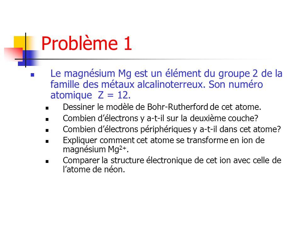 Problème 1 Le magnésium Mg est un élément du groupe 2 de la famille des métaux alcalinoterreux. Son numéro atomique Z = 12.
