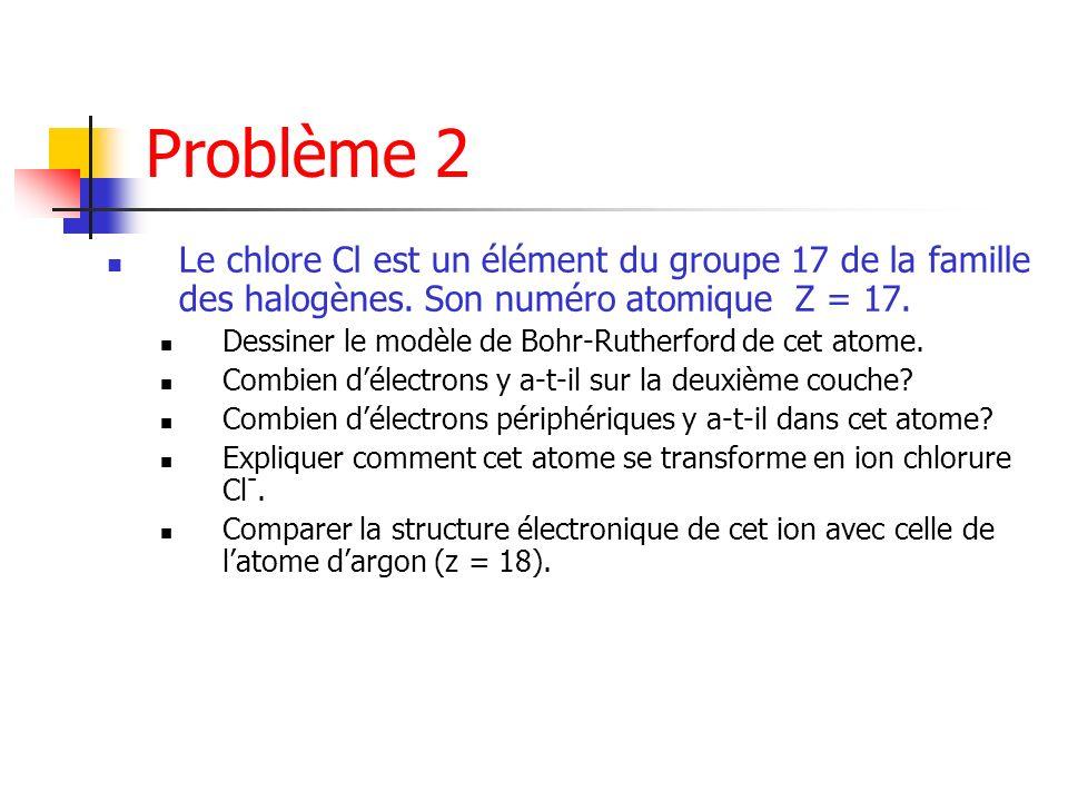 Problème 2 Le chlore Cl est un élément du groupe 17 de la famille des halogènes. Son numéro atomique Z = 17.
