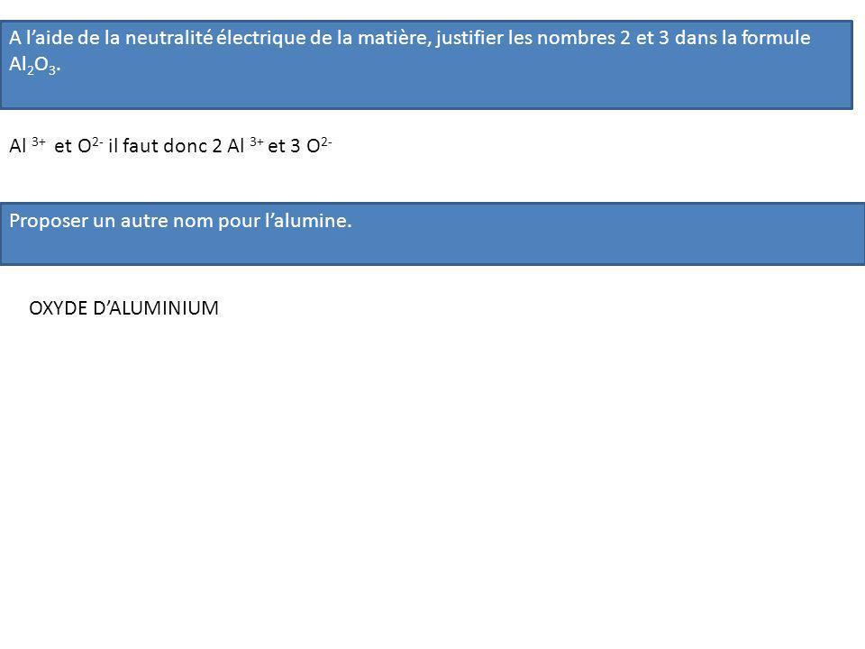 A l'aide de la neutralité électrique de la matière, justifier les nombres 2 et 3 dans la formule Al2O3.