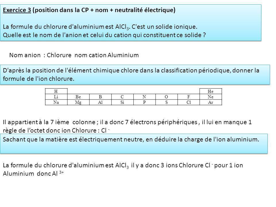 Exercice 3 (position dans la CP + nom + neutralité électrique)