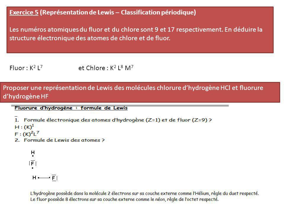 Exercice 5 (Représentation de Lewis – Classification périodique)