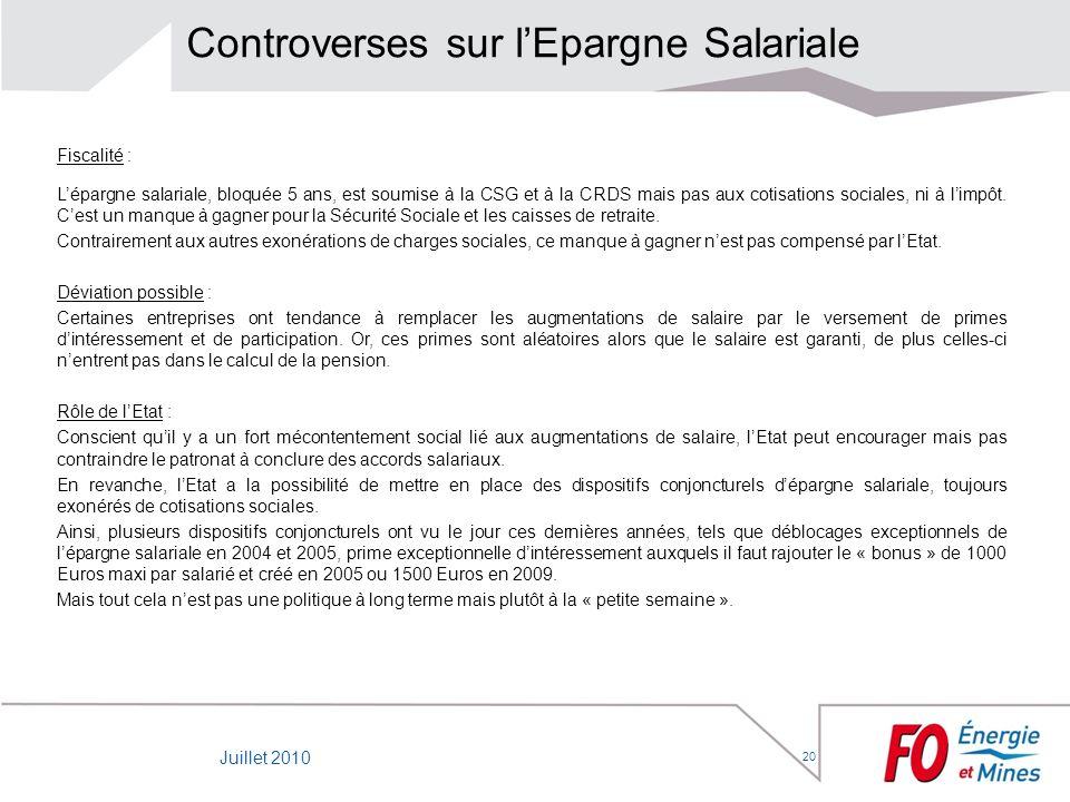 Controverses sur l'Epargne Salariale