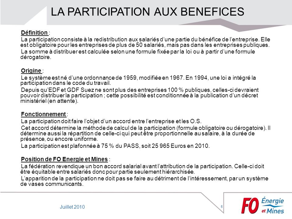 LA PARTICIPATION AUX BENEFICES