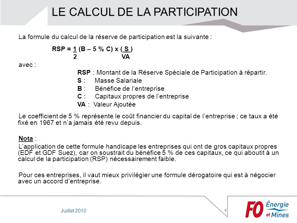 LE CALCUL DE LA PARTICIPATION