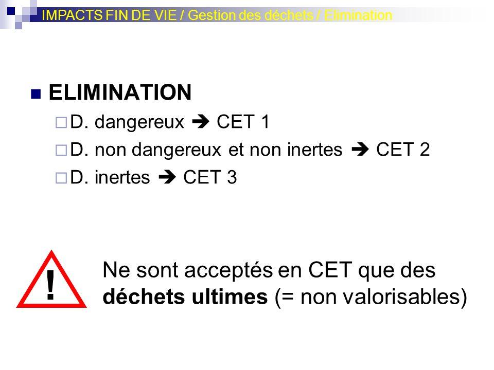 IMPACTS FIN DE VIE / Gestion des déchets / Elimination