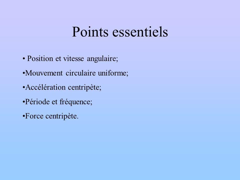 Points essentiels Position et vitesse angulaire;