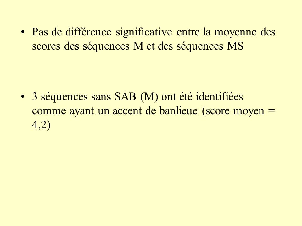 Pas de différence significative entre la moyenne des scores des séquences M et des séquences MS