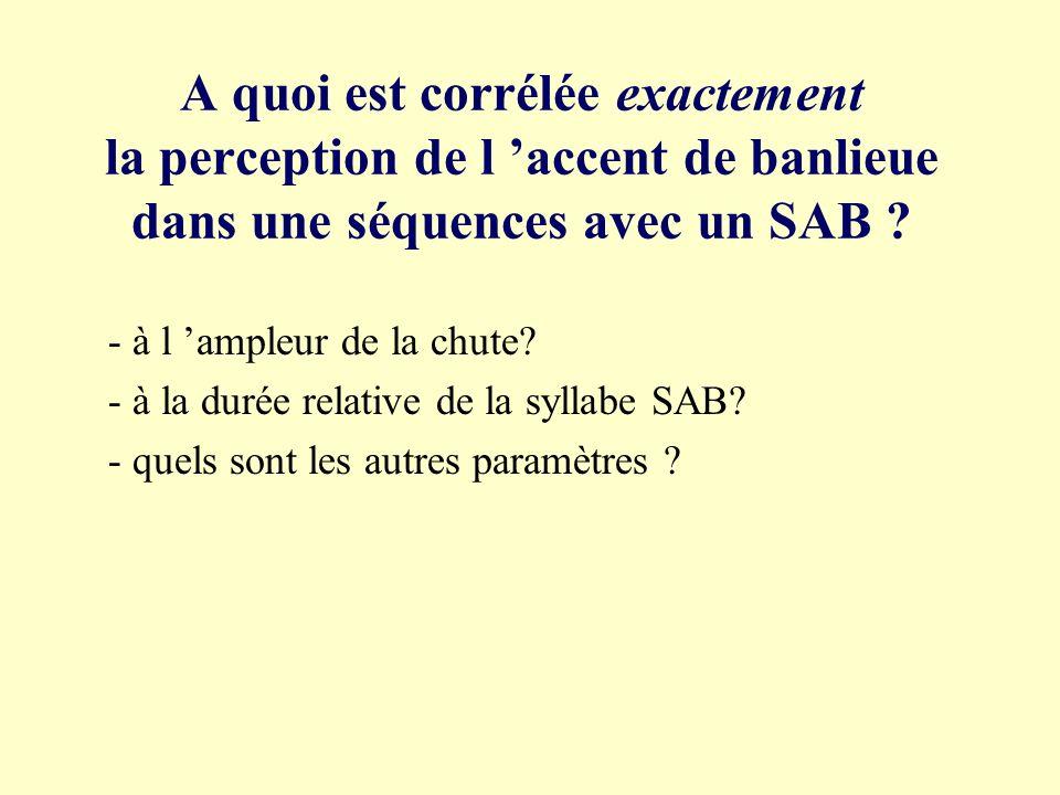A quoi est corrélée exactement la perception de l 'accent de banlieue dans une séquences avec un SAB