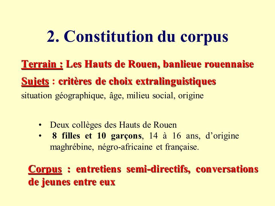 2. Constitution du corpus