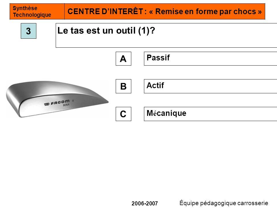 3 Le tas est un outil (1) A Passif B Actif C Mécanique