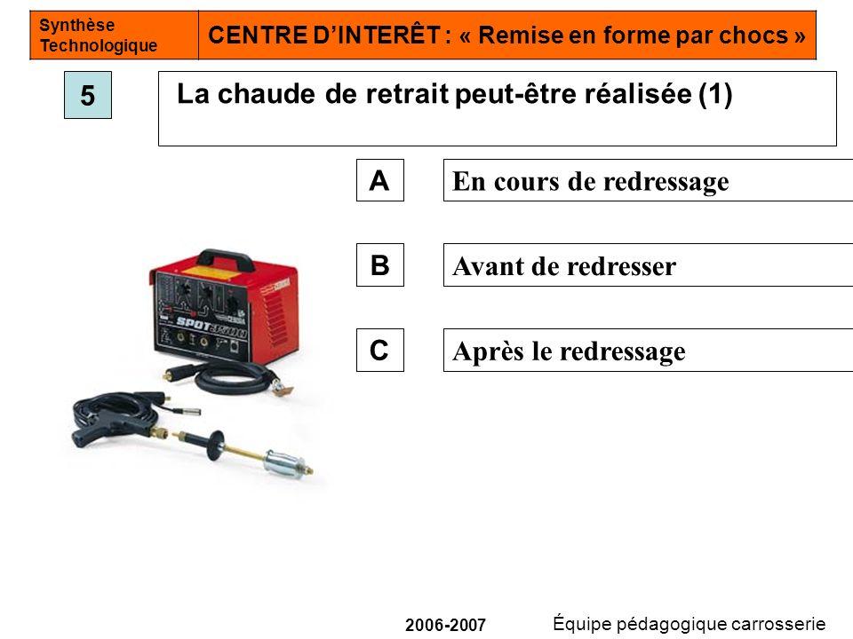 5 La chaude de retrait peut-être réalisée (1) A. En cours de redressage. B. Avant de redresser.