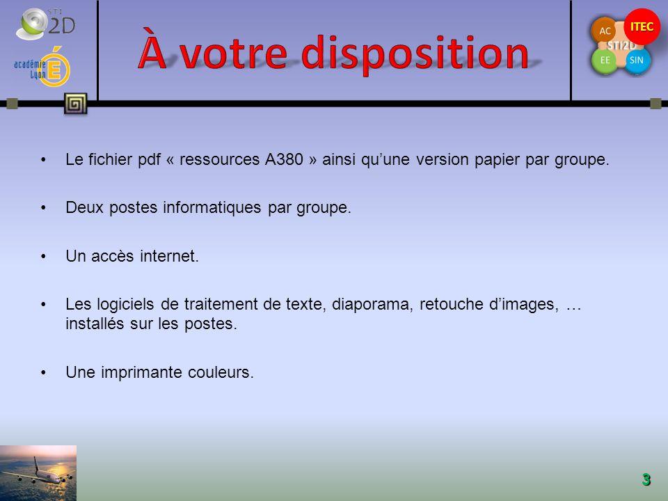 À votre disposition Le fichier pdf « ressources A380 » ainsi qu'une version papier par groupe. Deux postes informatiques par groupe.