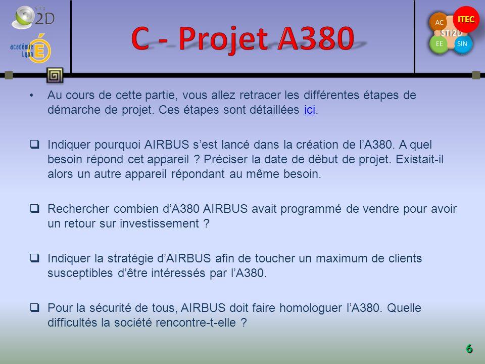 C - Projet A380 Au cours de cette partie, vous allez retracer les différentes étapes de démarche de projet. Ces étapes sont détaillées ici.