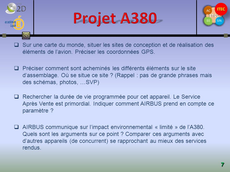Projet A380 Sur une carte du monde, situer les sites de conception et de réalisation des éléments de l'avion. Préciser les coordonnées GPS.