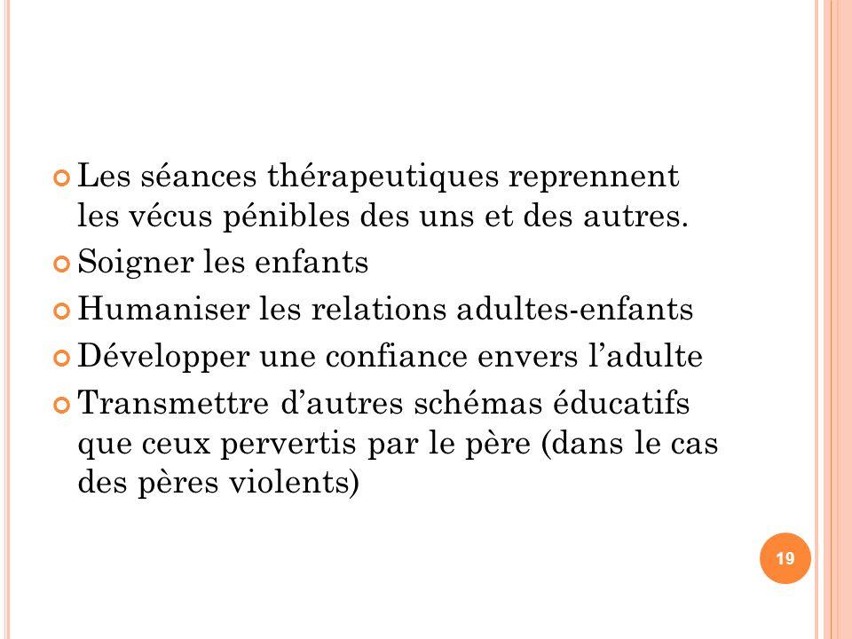 Les séances thérapeutiques reprennent les vécus pénibles des uns et des autres.