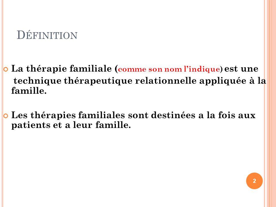 Définition La thérapie familiale (comme son nom l'indique) est une