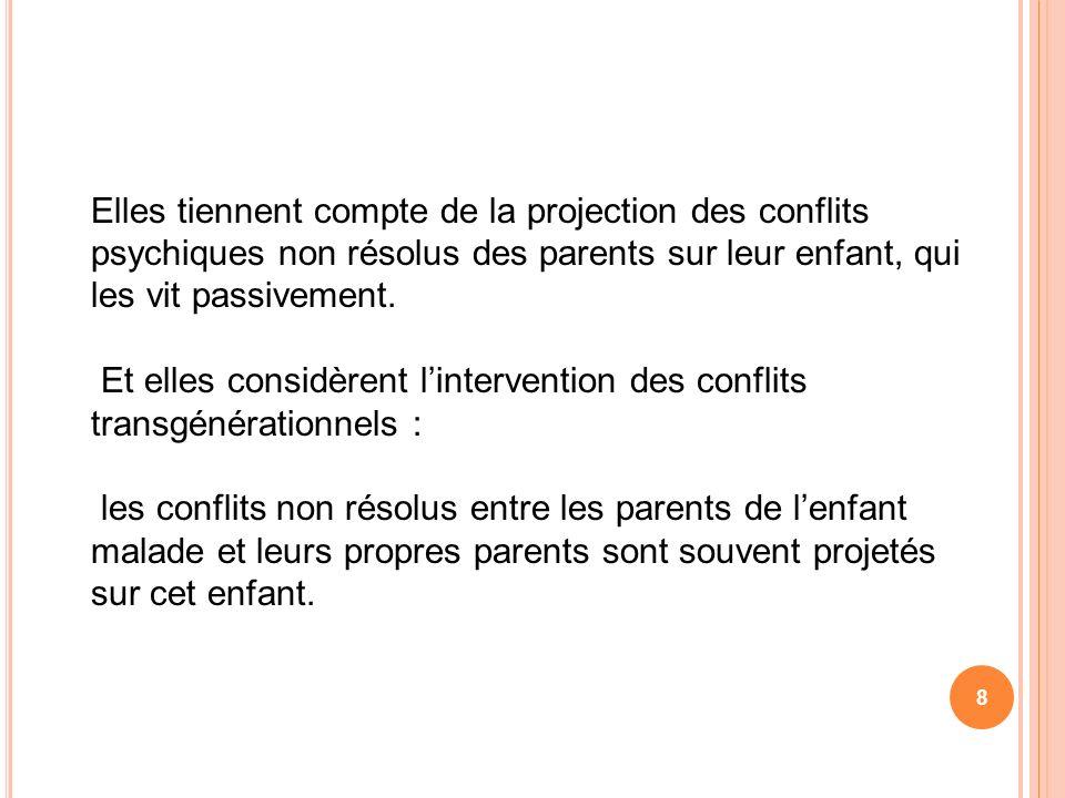 Elles tiennent compte de la projection des conflits psychiques non résolus des parents sur leur enfant, qui les vit passivement.