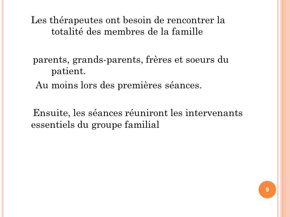 Les thérapeutes ont besoin de rencontrer la totalité des membres de la famille parents, grands-parents, frères et soeurs du patient.