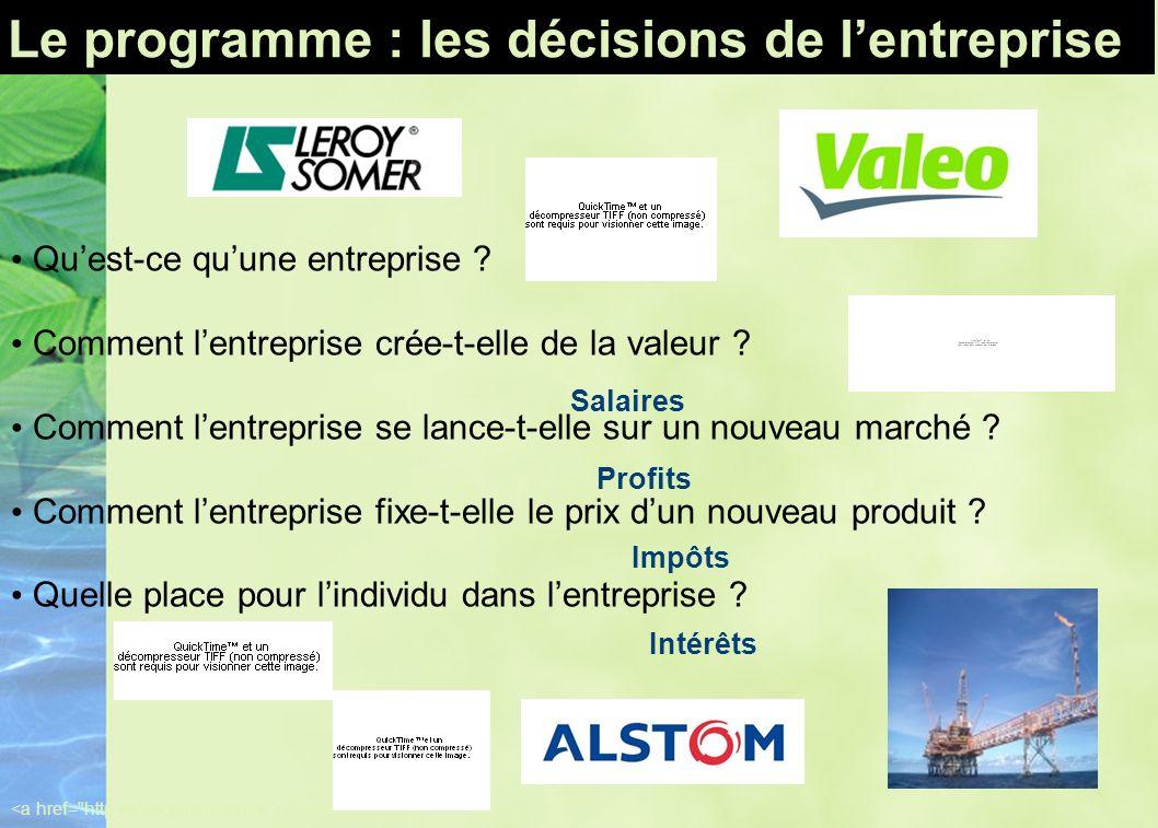 Le programme : les décisions de l'entreprise