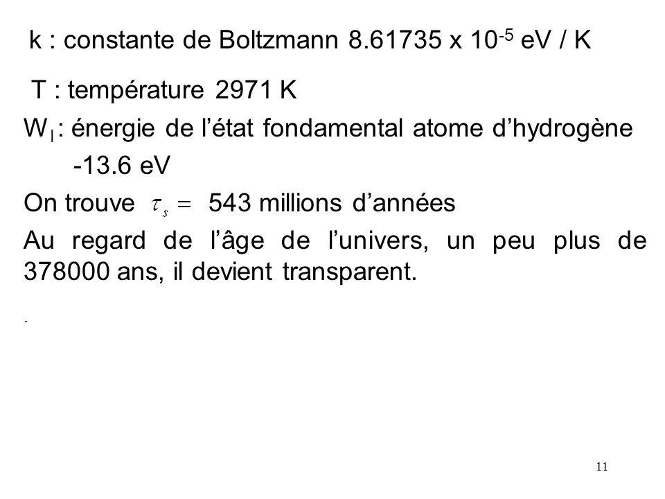 k : constante de Boltzmann 8.61735 x 10-5 eV / K