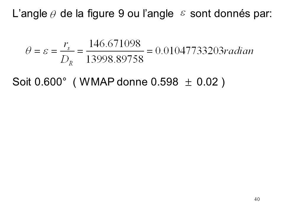 L'angle de la figure 9 ou l'angle sont donnés par: