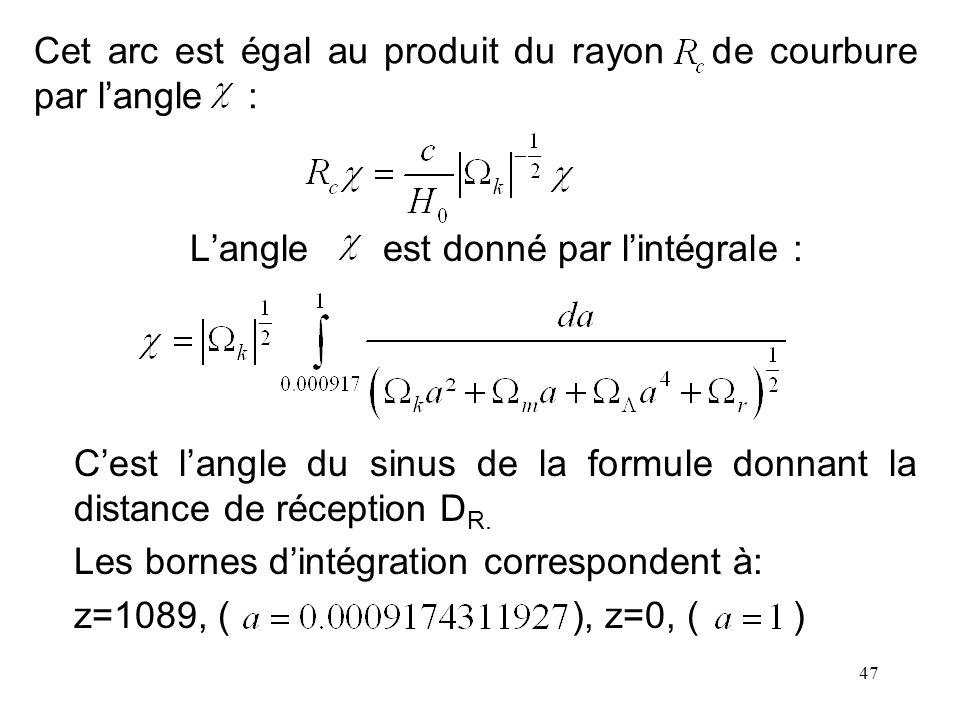 Cet arc est égal au produit du rayon de courbure par l'angle :